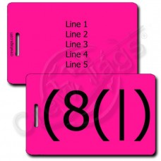 PERSONALIZED HOMER EMOTICON LUGGAGE TAGS  (8(|) NEON PINK